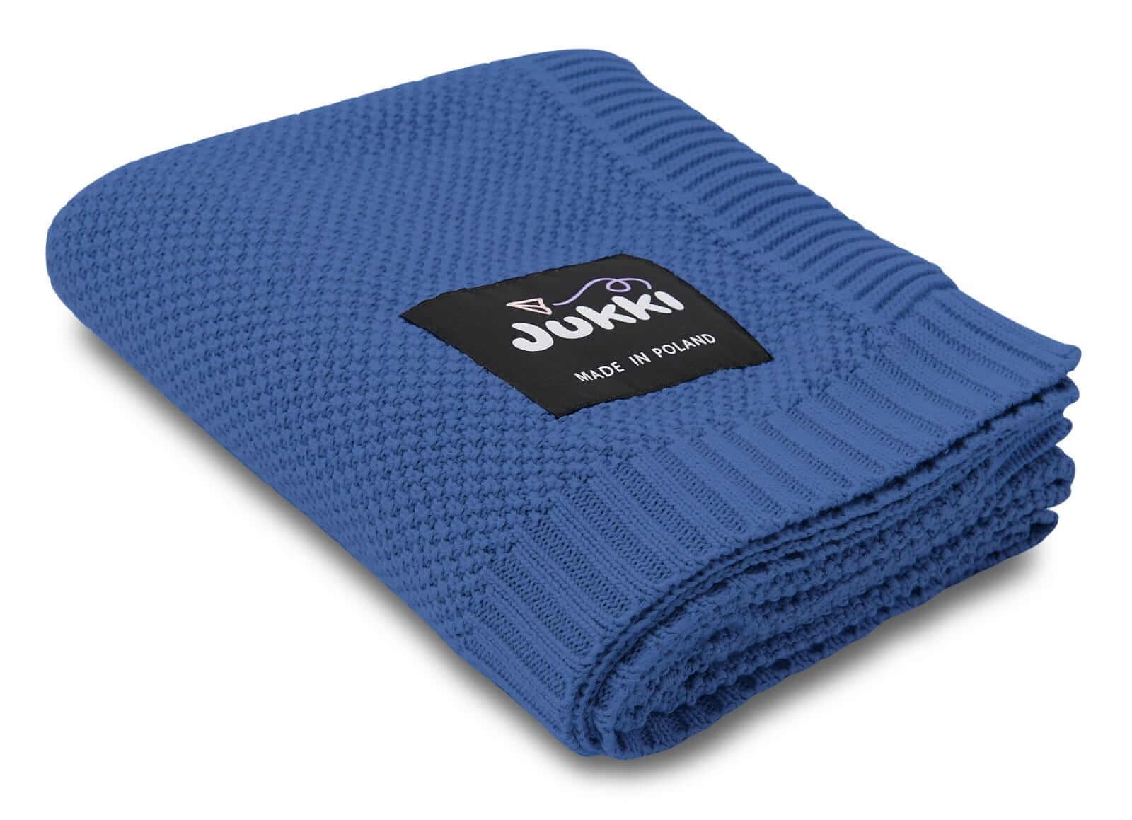 Kocyk bawełniany tkany 100x80 cm - Ocean Blue