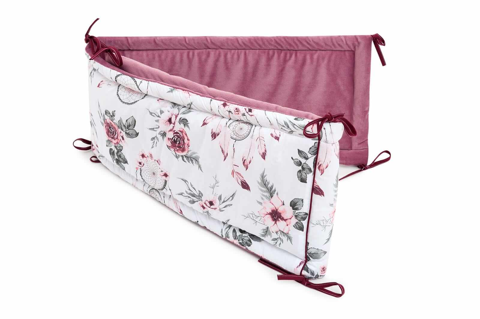 Ochraniacz do łóżeczka - Summer Dream i velvet w kolorze old rosa