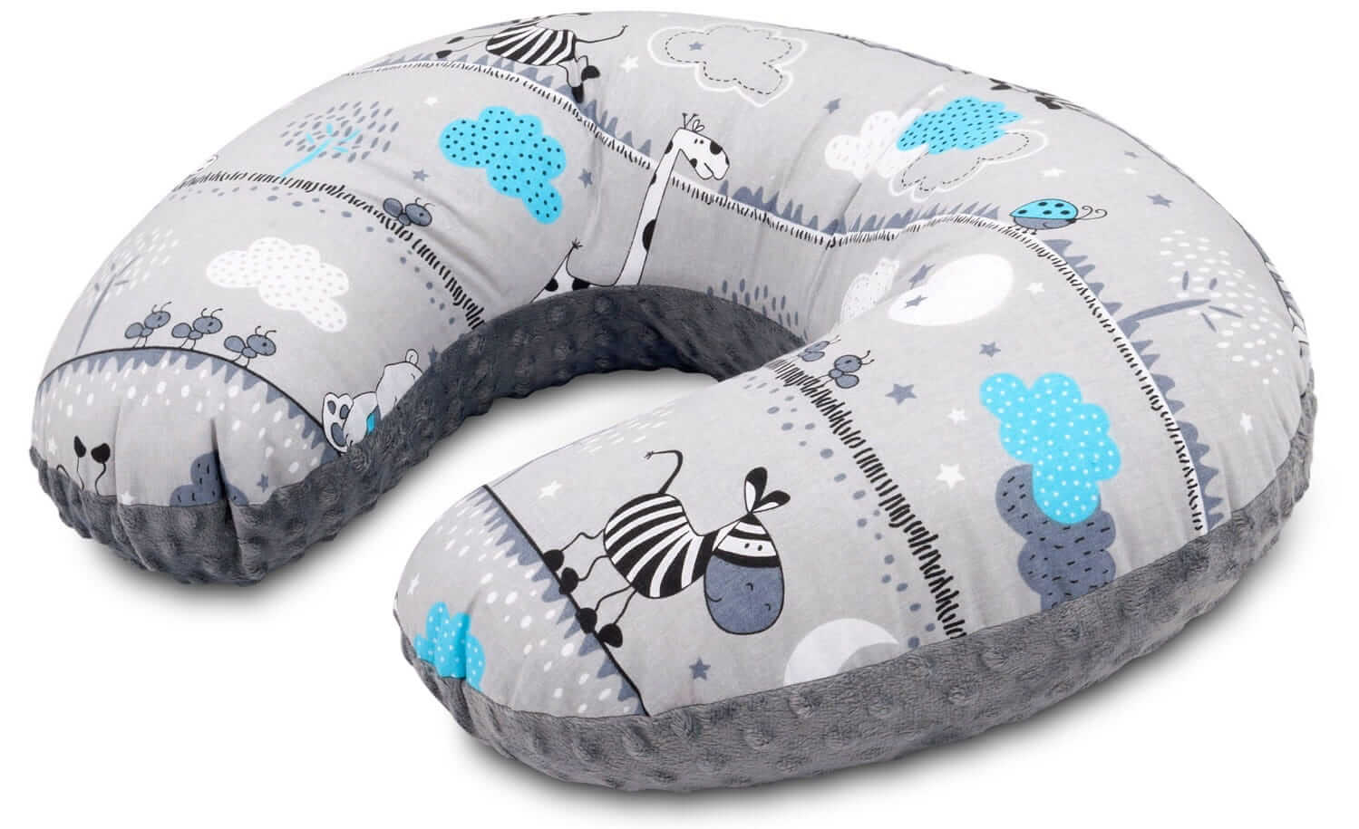 Poduszka rogal minky - zebry i szare minky